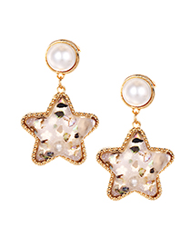 Elegant Light Pink Pearls Decorated Star Shape Earrings