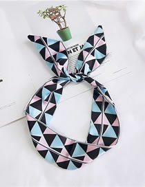 Fashion Pink+blue Triangle Pattern Decorated Scarf