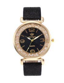 Fashion Black Pure Color Strap Design Round Shape Dial Watch