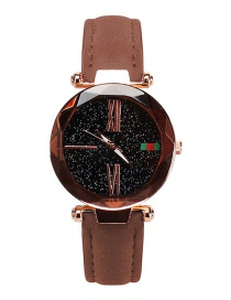 Fashion Coffee Rome Digital Decorated Round Shape Dial Watch