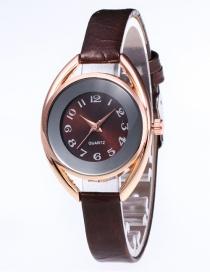 Fashion Coffee Round Shape Dial Design Leisure Watch