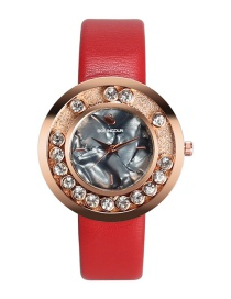 Fashion Red Diamond Decorated Round Shape Dial Watch