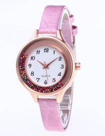 Fashion Pink Colored Balls Decorated Leisure Watch