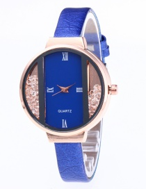 Fashion Sapphire Blue Diamond Decorated Pure Color Strap Watch