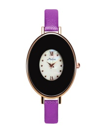 Fashion Purple Egg Shape Dial Design Pure Color Strap Watch