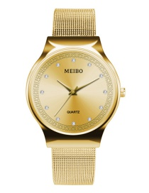 Fashion Gold Color Pure Color Decorated Diamond Watch