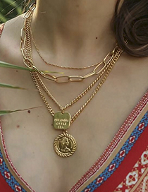 Fashion Gold Color Round Shape Decorated Multi-layer Necklace
