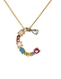 Fashion Multi-color C Shape Design Full Diamond Nekclace