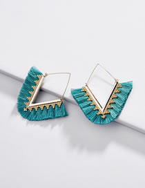 Fashion Blue V Shape Design Earrings