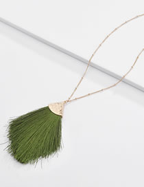 Fashion Green Tassel Decorated Necklace