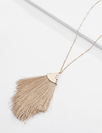 Fashion Khaki Tassel Decorated Necklace