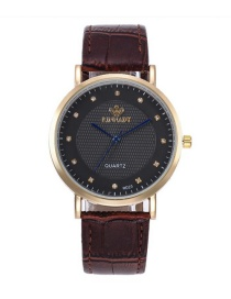 Fashion Brown Round Shape Dial Decorated Watch