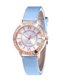 Fashion Blue Roman Numerals Decorated Watch