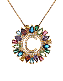 Fashion Multi-color Full Diamond Decorated C Letter Shape Necklace