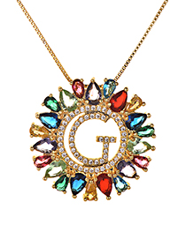 Fashion Multi-color Full Diamond Decorated G Letter Shape Necklace