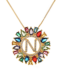 Fashion Multi-color Full Diamond Decorated N Letter Shape Necklace