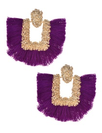 Fashion Purple Square Shape Decorated Tassel Earrings