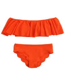 Fashion Orange Pure Color Decorated Bikini