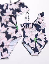 Fashion Pink Flower Pattern Decorated Swimwear For Kids