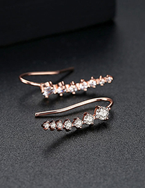 Fashion Rose Gold Diamond Decorated Earrings