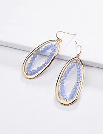 Fashion Dark Blue Alloy Geometry Hollow Crystal Glass Beads Woven Earrings
