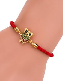Fashion Red Rope Gold Diamond-studded Owl Braided Red Rope Adjustable Bracelet