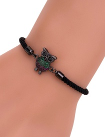 Fashion Black Rope Gun Black Diamond-studded Owl Braided Red Rope Adjustable Bracelet