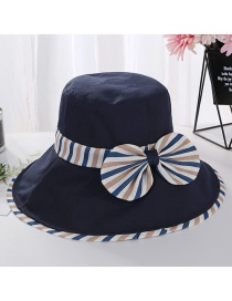 Fashion Navy Striped Fisherman Hat With Bow