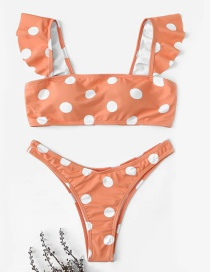 Fashion Pink Polka Dot Ruffled Swimsuit