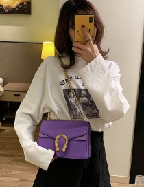 Fashion Purple Chain Lock Single Shoulder Slung Small Square Bag