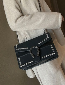 Fashion Black Diamond-studded Chain Single Slung Small Shoulder Bag