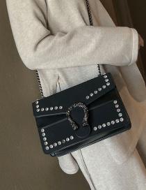 Fashion Black Diamond-studded Chain Single Slung Small Shoulder Bag