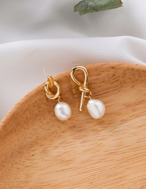 Fashion Gold 925 Silver Stud Metal Knot Asymmetric Pearl Earrings