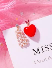 Fashion A Red: Love Asymmetric Pearl Earrings