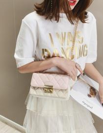 Fashion Powder White Pleated Chain Contrast Color Shoulder Bag