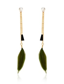 Fashion Dark Green Alloy Chain Feather Tassel Pearl Earrings