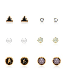 Fashion Silver Triangle Round Diamond Stud Earrings 6 Pairs