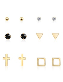 Fashion Gold Cross Geometry Studded With 6 Pairs