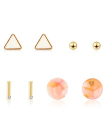 Fashion Gold Geometric Diamond Stud Earrings 4 Pairs