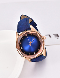 Fashion Royal Blue Pu Diamond-encrusted Alloy Electronic Element Octagonal Watch