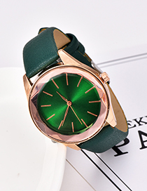Fashion Dark Green Solid Color Pu Alloy Electronic Watch