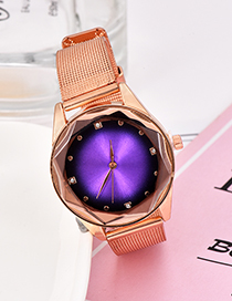 Fashion Purple Alloy Strap Electronic Element Watch