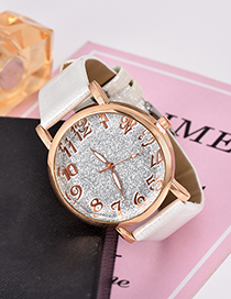 Fashion White Pu Sequin Alloy Electronic Watch