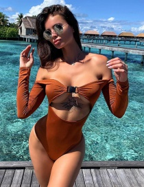 Fashion Brown One-piece Solid Color Off-the-shoulder Swimsuit