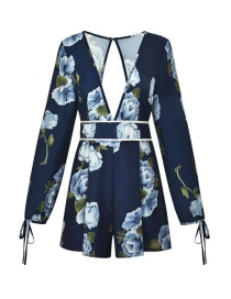 Fashion Navy V-neck Halter Print Long-sleeve One-piece Short Skirt