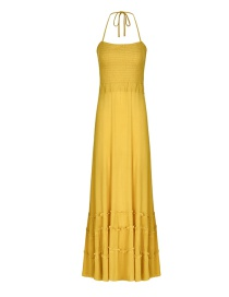 Fashion Turmeric Open Back Strap Pleated Halter Dress