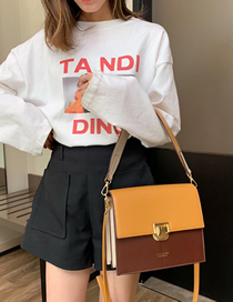 Fashion Yellow Square Bag Hit Color Bag Lock Buckle Shoulder Bag