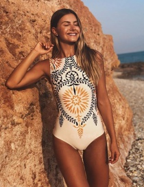 White Printed Bikini One-piece Swimsuit Integrated