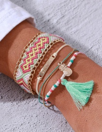 Fashion Color Woven Beaded Tassel Alloy Pineapple Love Pendant Bracelet 4 Set
