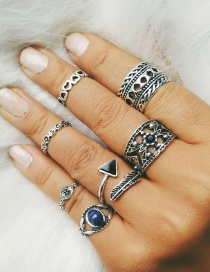 Fashion Silver Seven-piece Alloy Ring